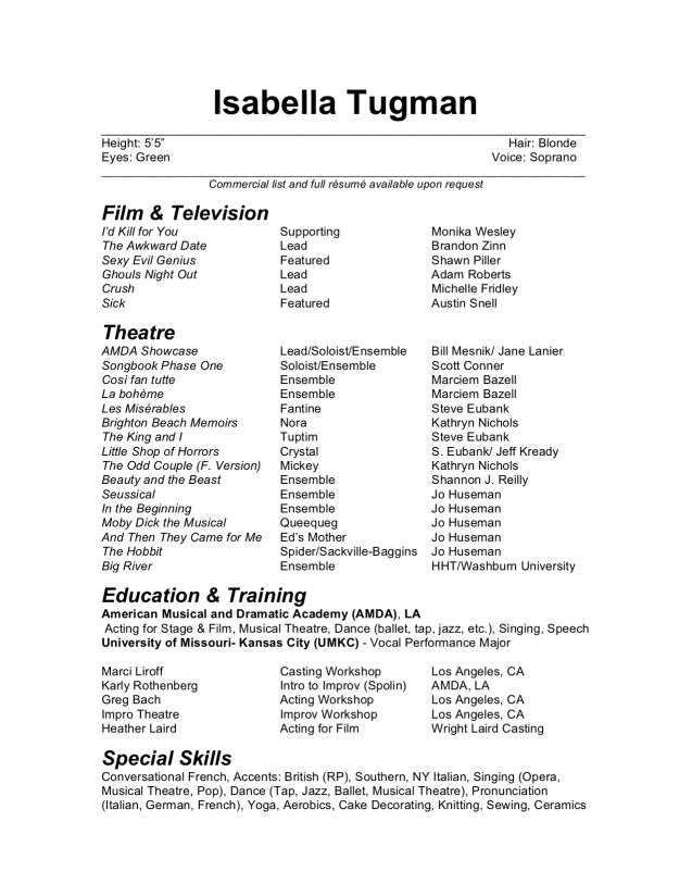 Isabella Tugman's Acting Resume